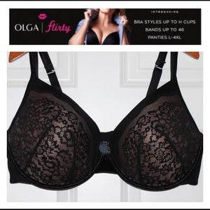 New Olga Push-Up Flirty Fit! Black & Tan lace bra